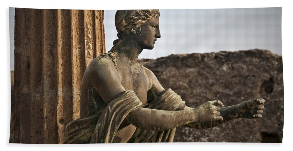 Apollo Beach Towel featuring the photograph Apollo In Pompeii by Steven Sparks