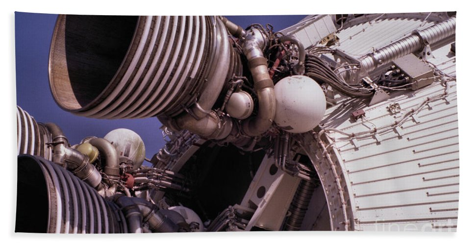 Technology Beach Towel featuring the photograph Apollo Rocket Engine by Richard Rizzo
