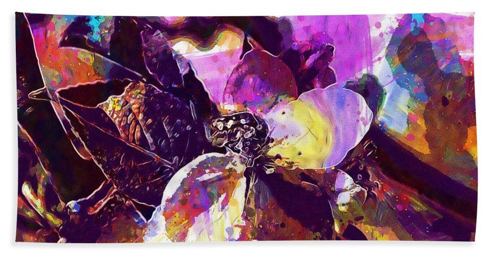 Apple Beach Towel featuring the digital art Apple Beetles Flowers Pollinating by PixBreak Art