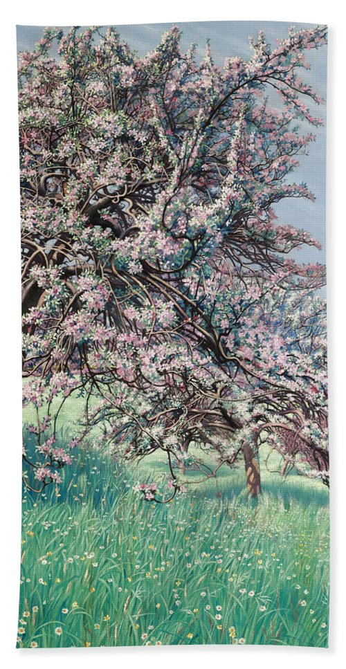 Carlos Schwabe Beach Towel featuring the painting Apple Blossom by Carlos Schwabe