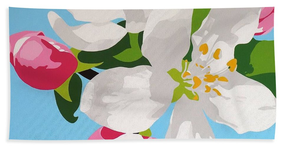 Springtime Apple Blossom Beach Towel featuring the painting Apple Blossom by Susan Porter