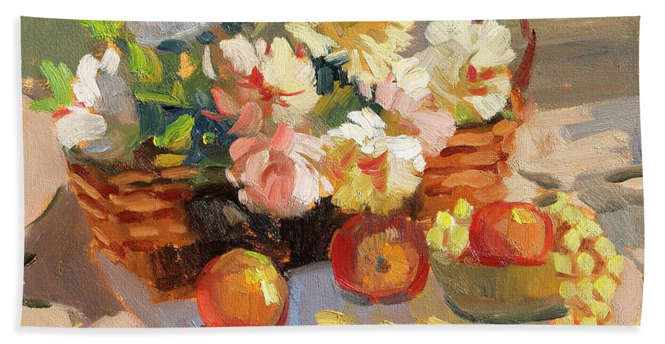 Apples And Peonies Beach Towel featuring the painting Apples And Peonies by Diane McClary