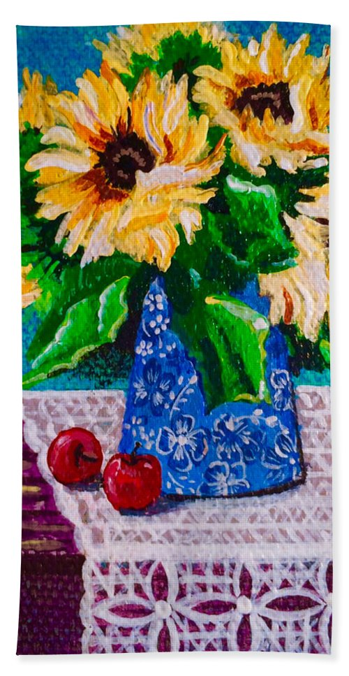 Apples Beach Towel featuring the painting Apples Sunflowers by Jennifer Lake