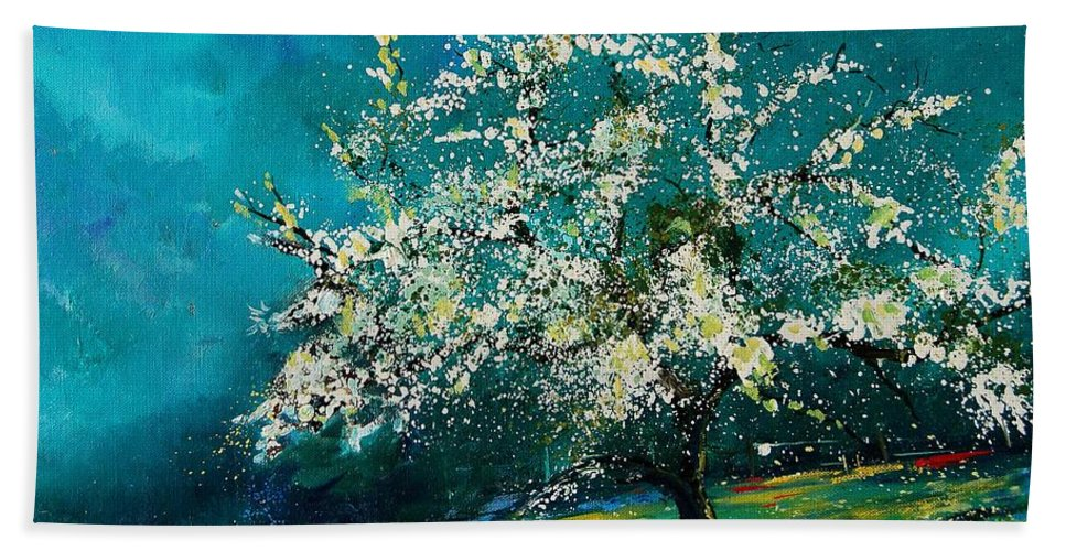 Spring Beach Towel featuring the painting Appletree In Spring by Pol Ledent