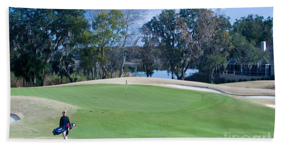 Golf Beach Towel featuring the photograph Approaching The 18th Green by Thomas Marchessault