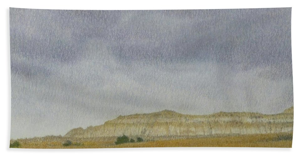North Dakota Beach Towel featuring the pastel April In The Badlands by Cris Fulton