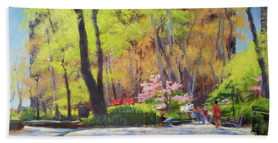 Beach Towel featuring the painting April Morning In Carl Schurz Park by Peter Salwen