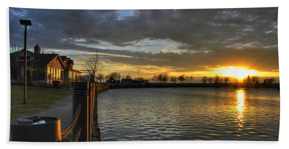 Buffalo Beach Towel featuring the photograph April Sunsets by Michael Frank Jr