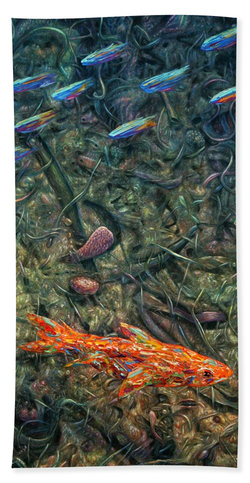 Aquarium Beach Towel featuring the painting Aquarium 2 by James W Johnson