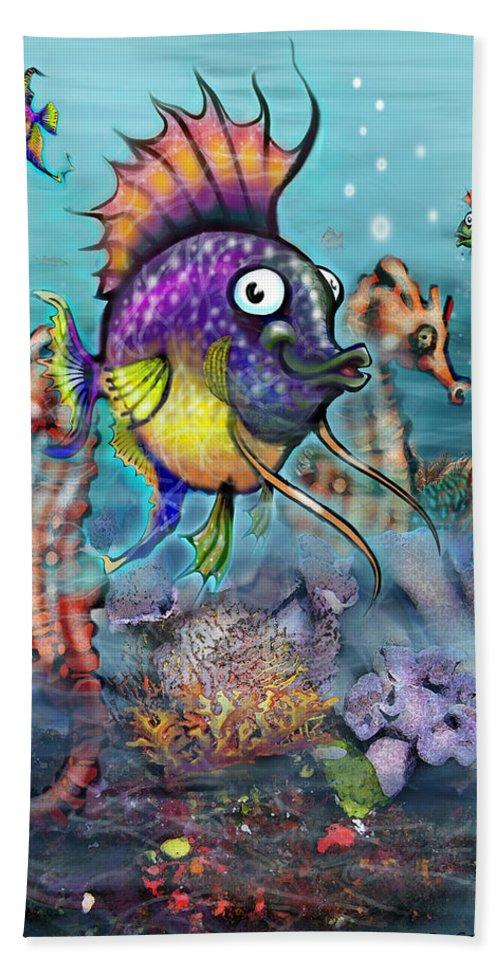 Aquarium Beach Towel featuring the painting Aquarium by Kevin Middleton