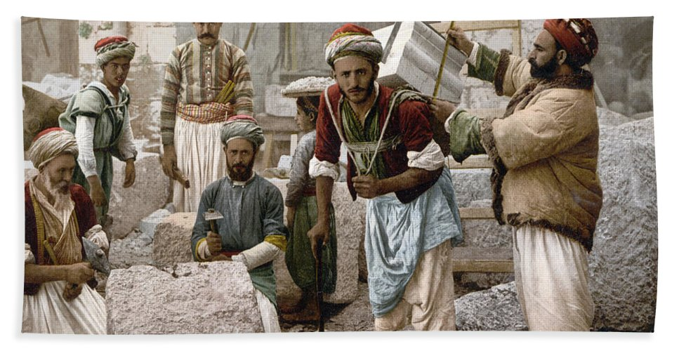 1900 Beach Towel featuring the photograph Arab Stonemasons, C1900 - To License For Professional Use Visit Granger.com by Granger