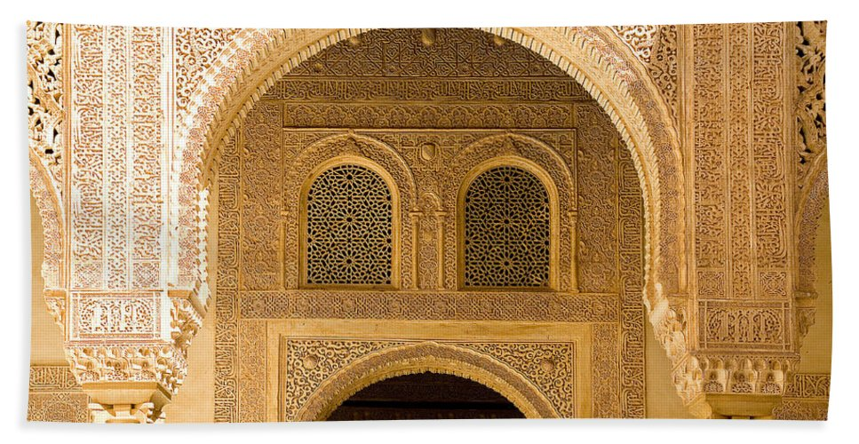 Cuarto Beach Towel featuring the photograph Arabesque Ornamental Designs At The Casa Real In The Nasrid Palaces At The Alhambra by Mal Bray
