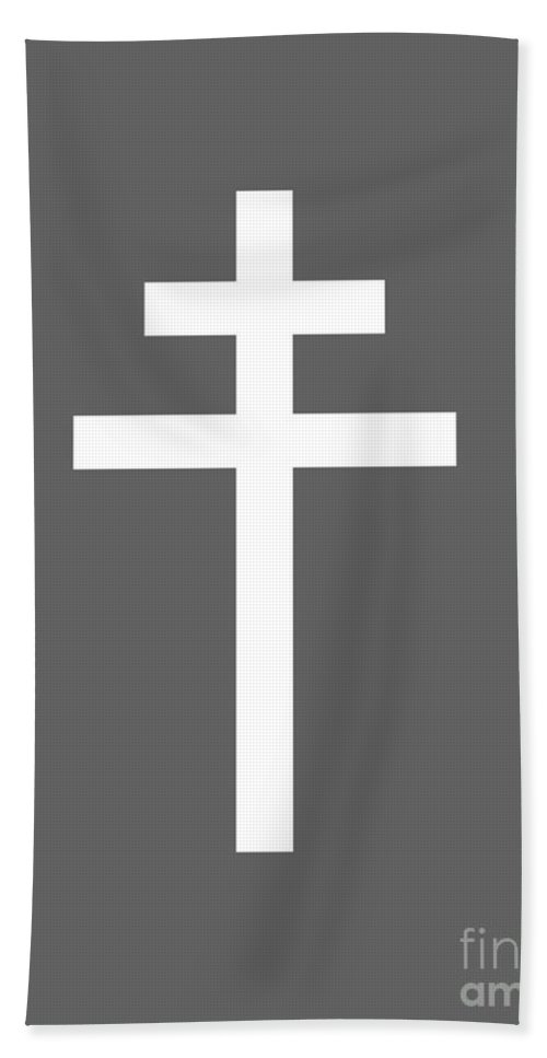 Rainbow Beach Towel featuring the digital art Archbishop's Cross by Frederick Holiday