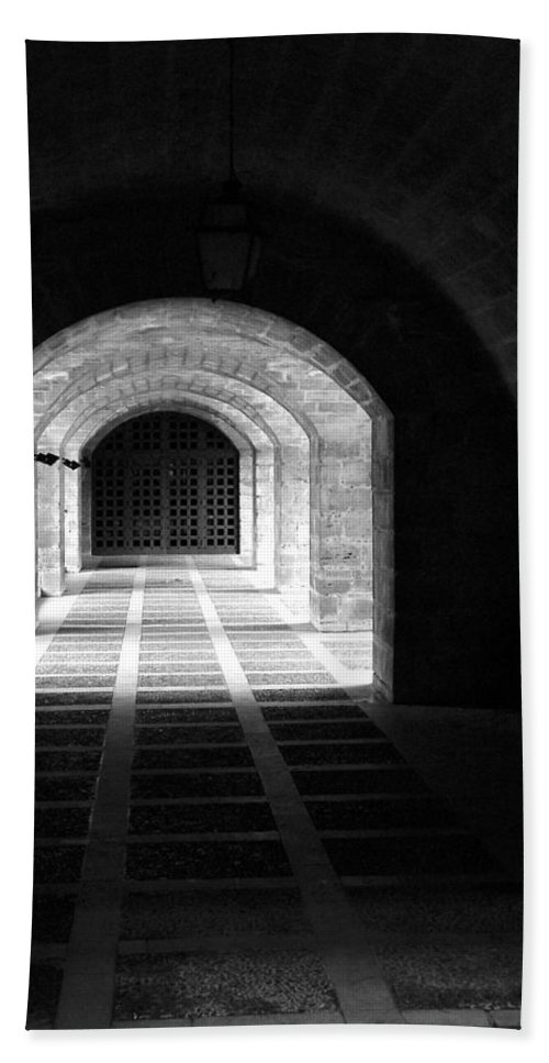 Landscape Beach Towel featuring the photograph Arched Hallway In Palma by Donna Corless