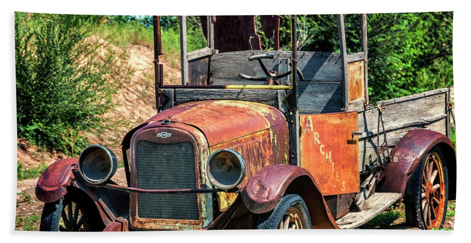 Chevrolet Beach Towel featuring the photograph Archies Chevolet Taos Nm by Greg Kluempers