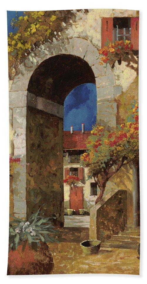 Guido Beach Towel featuring the painting Arco Al Buio by Guido Borelli