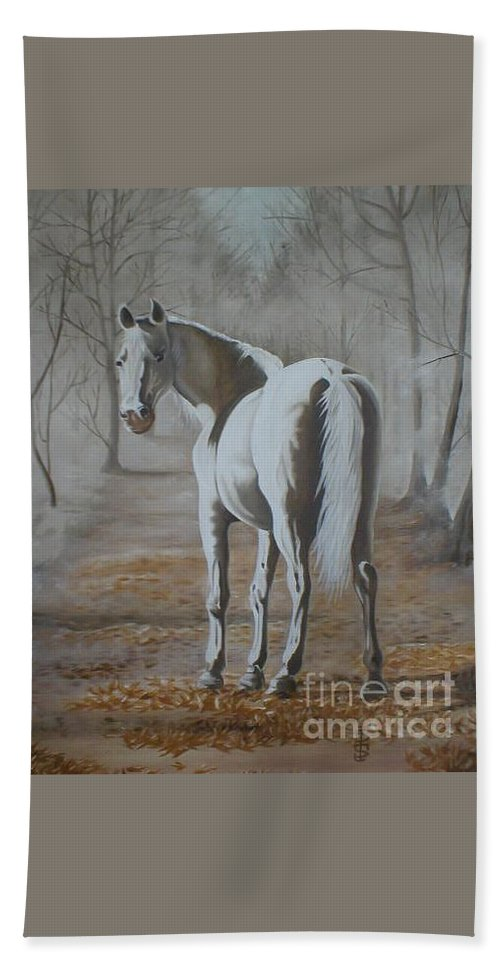 White Horse Looking Autumn Leaves Trees Avenue Shadows Beach Towel featuring the painting Are You Coming by Pauline Sharp