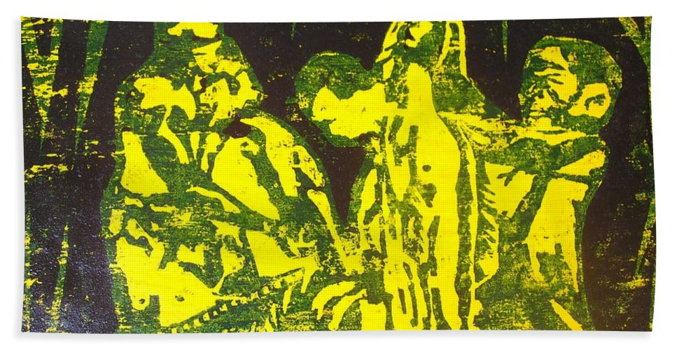 Festival Beach Towel featuring the mixed media Argungun Festival 2 by Olaoluwa Smith