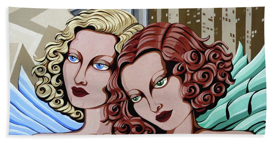 Portrait Beach Towel featuring the painting Arielle And Gabrielle by Tara Hutton