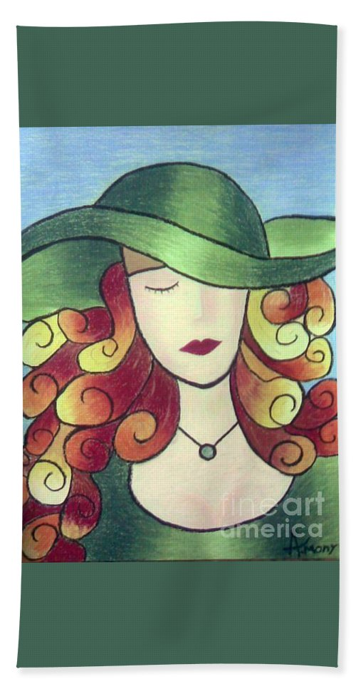 Portrait Beach Towel featuring the painting Aristocratic Lady by Eman Allam