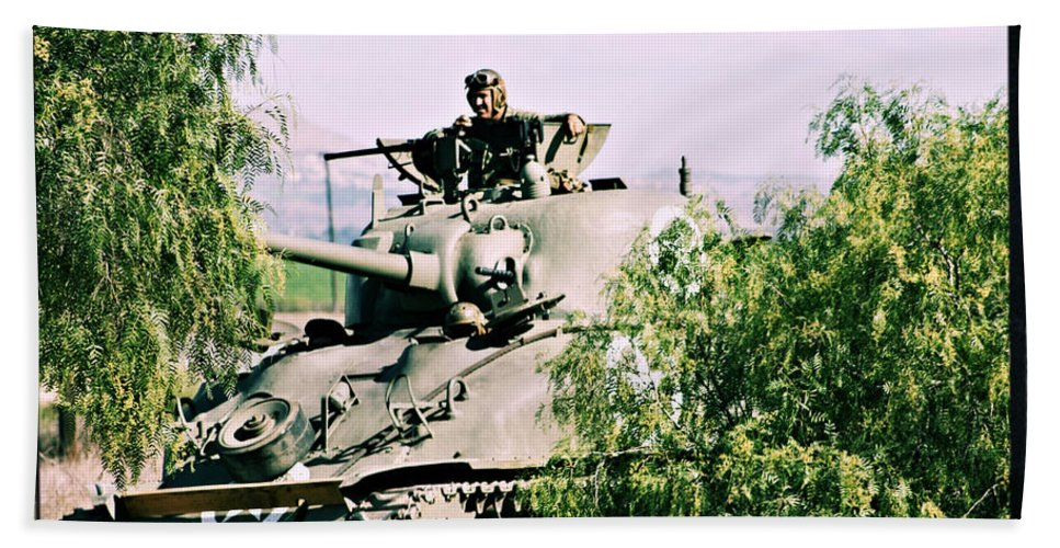 Tank Beach Towel featuring the photograph Armor Support by Tommy Anderson