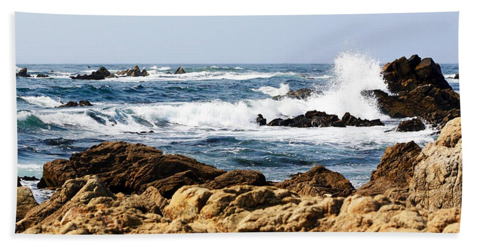Tide Beach Towel featuring the photograph Arriving Tide At Pebble Beach by Marilyn Hunt