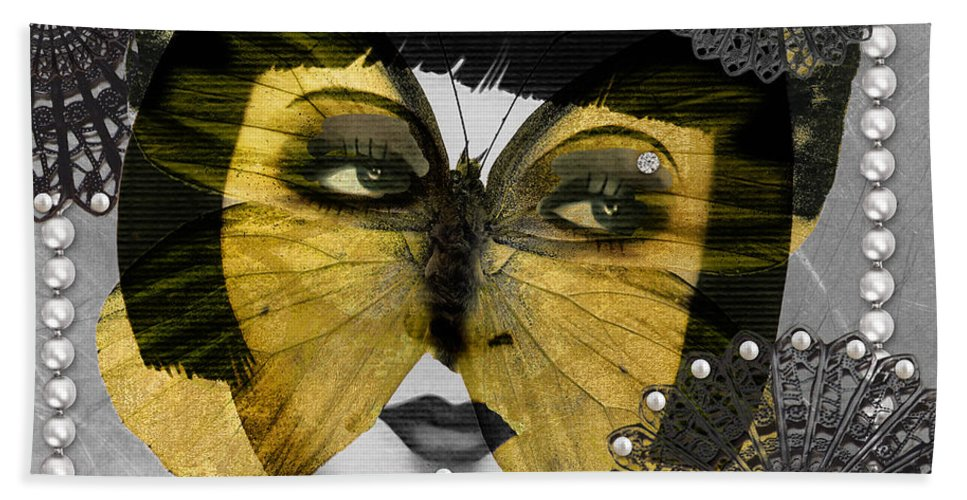 Art Deco Beach Towel featuring the digital art Art Deco Butterfly Woman by Mindy Sommers