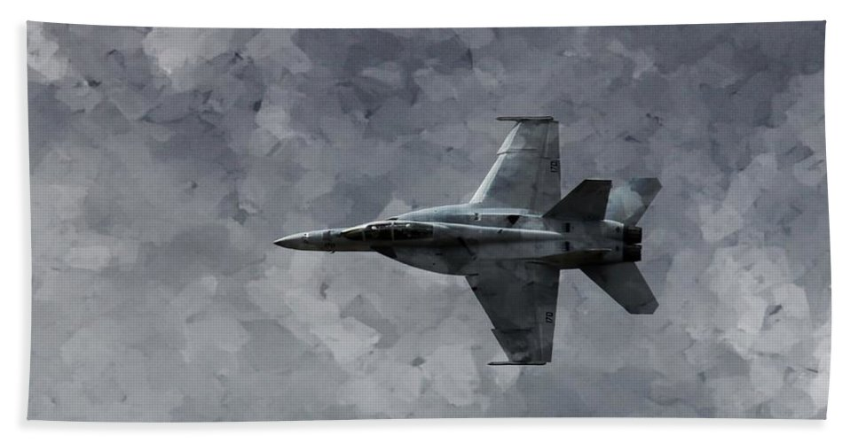 F18 Beach Towel featuring the photograph Art In Flight F-18 Fighter by Aaron Lee Berg