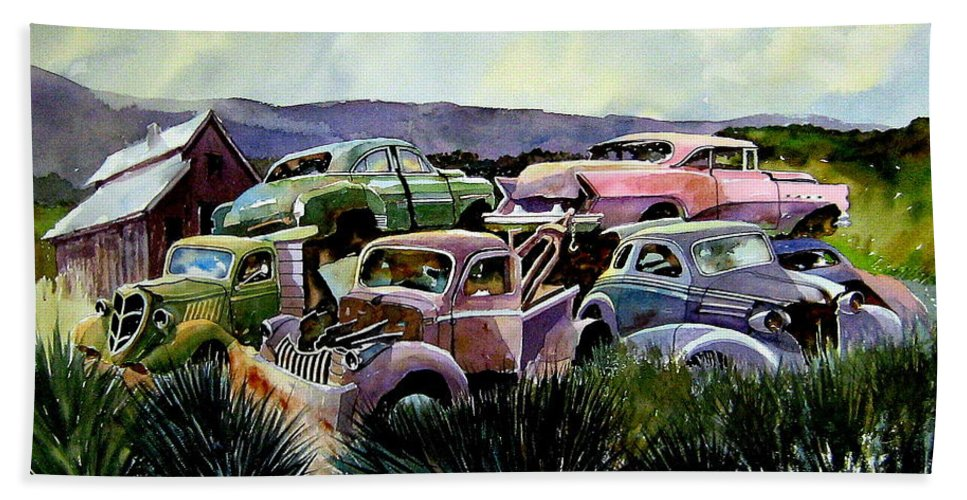 Cars Beach Towel featuring the painting Art In The Orchard by Ron Morrison