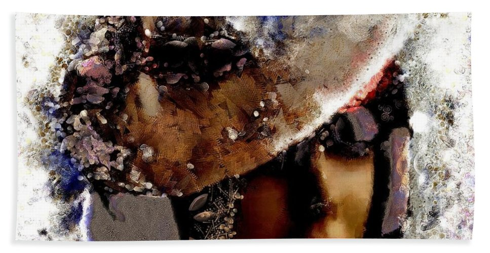 Art Vintage She Fragmented Beach Towel featuring the painting Art Vintage She Fragmented by Catherine Lott
