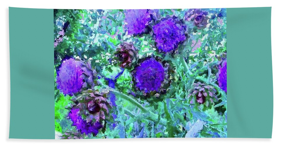 Artichokes Beach Towel featuring the digital art Artichoke Blues by Amber Stubbs