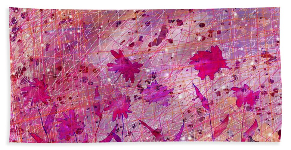 Abstract Beach Towel featuring the digital art Artificial Flowers by William Russell Nowicki