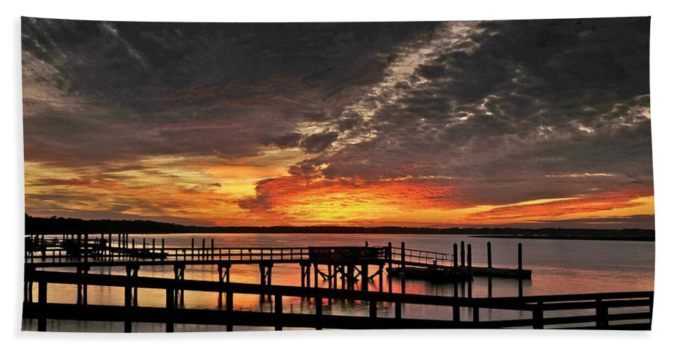 Sunset Beach Towel featuring the photograph Artistic Black Sunset by Phill Doherty