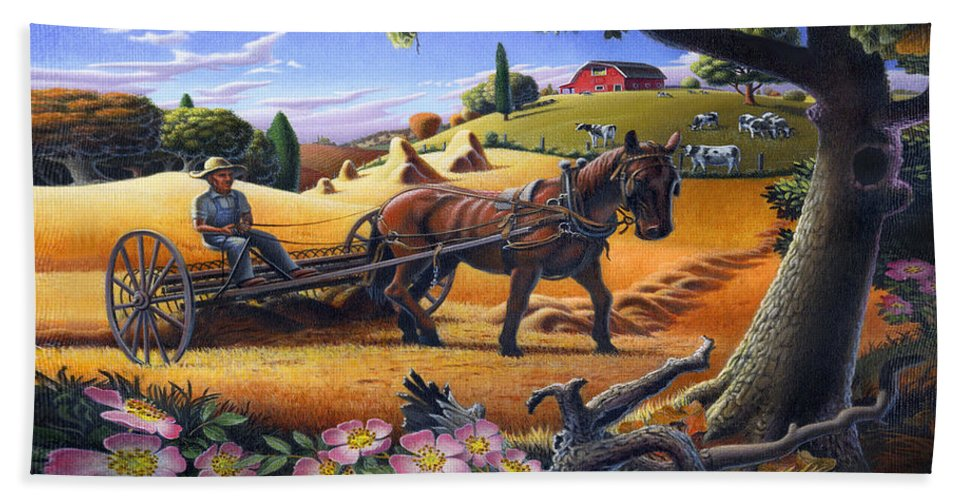 Raking Hay Beach Towel featuring the painting Raking Hay Field Rustic Country Farm Folk Art Landscape by Walt Curlee