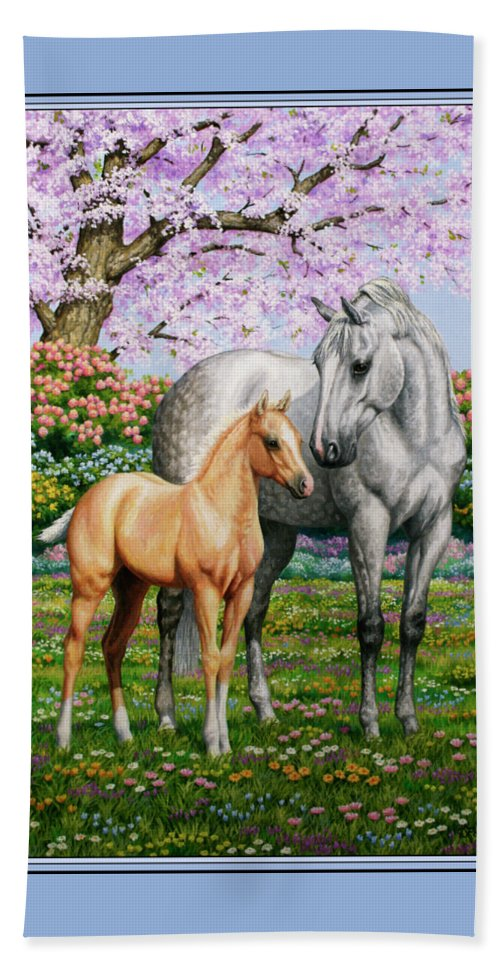 Horse Beach Towel featuring the painting Spring's Gift - Mare And Foal by Crista Forest