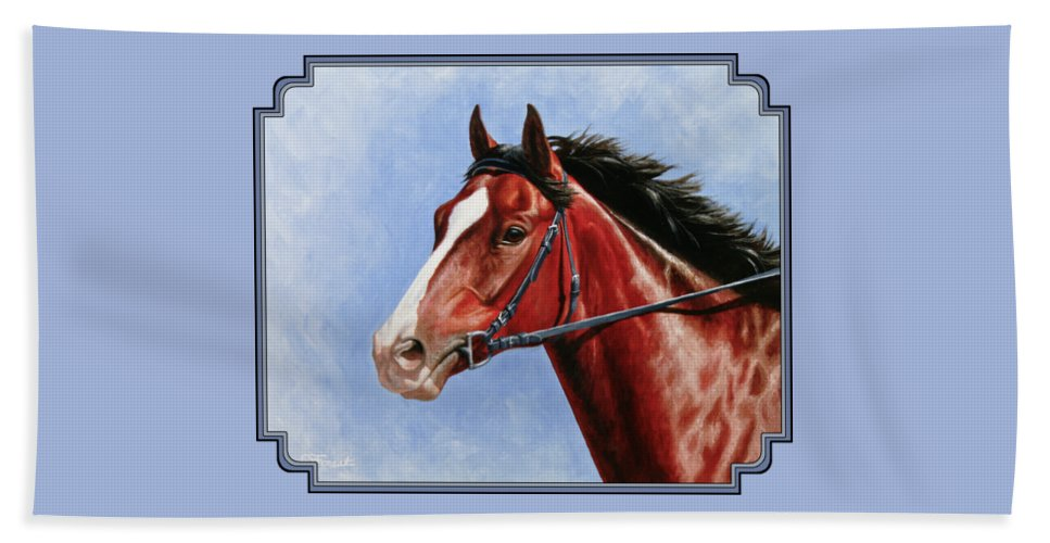 Horse Beach Towel featuring the painting Horse Painting - Determination by Crista Forest