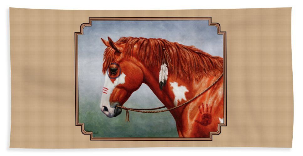 Horse Beach Sheet featuring the painting Native American War Horse by Crista Forest