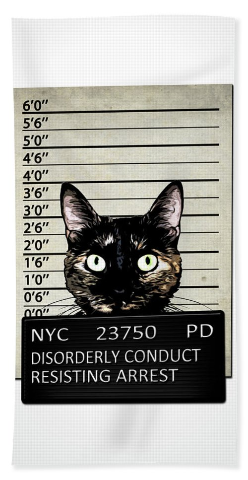 Cat Beach Towel featuring the mixed media Kitty Mugshot by Nicklas Gustafsson