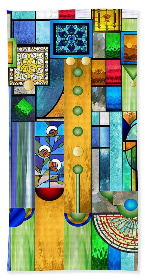 Art Deco Stained Glass Beach Towel featuring the mixed media Art Deco Stained Glass 1 by Ellen Henneke