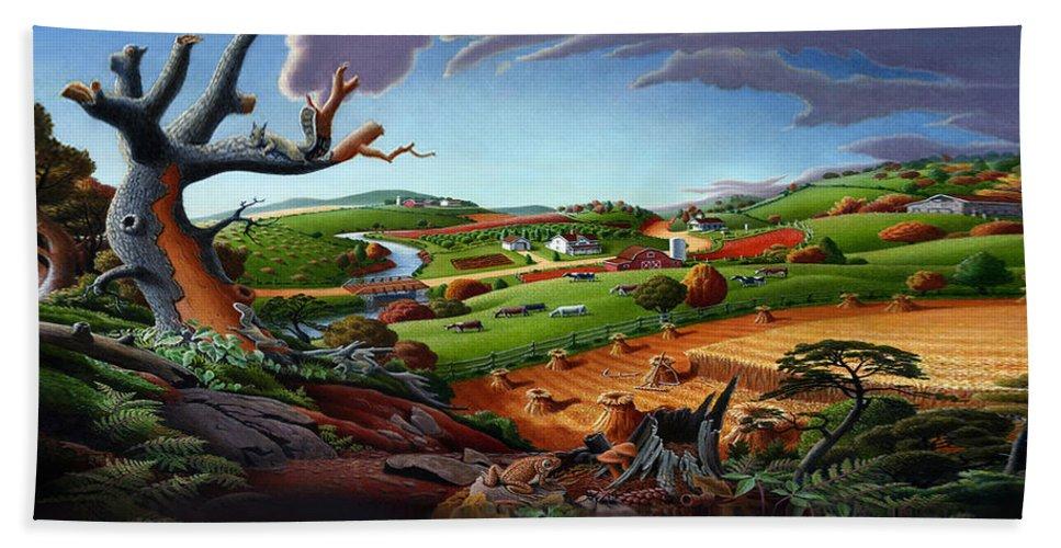 Appalachian Beach Towel featuring the painting Appalachian Fall Thanksgiving Wheat Field Harvest Farm Landscape Painting - Rural Americana - Autumn by Walt Curlee
