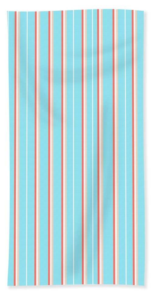 Blue Beach Towel featuring the mixed media Blue Stripe Pattern by Christina Rollo