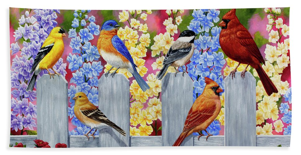 Birds Beach Sheet featuring the painting Bird Painting - Spring Garden Party by Crista Forest