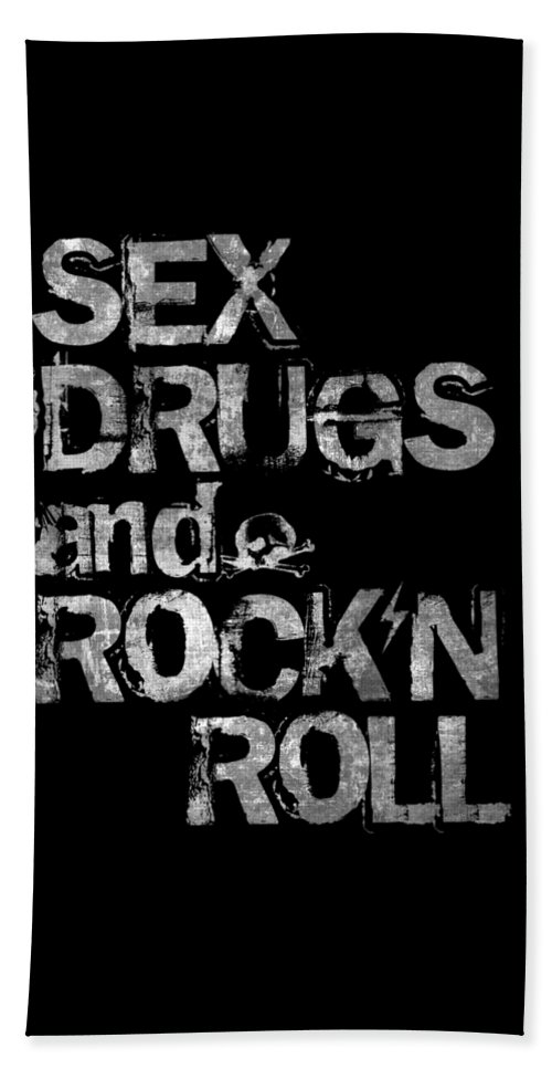 Sex Beach Towel featuring the digital art Sex Drugs And Rock N Roll by Zapista OU