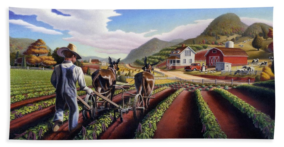 Appalachian Beach Towel featuring the painting Appalachian Folk Art Summer Farmer Cultivating Peas Farm Farming Landscape Appalachia Americana by Walt Curlee