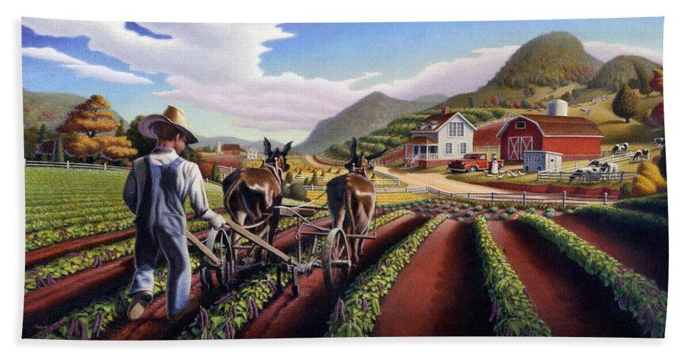 Appalachian Beach Towel featuring the painting Appalachian Folk Art Summer Farmer Cultivating Peas Farm Farming Landscape Appalachia Americana by Walt Curlee