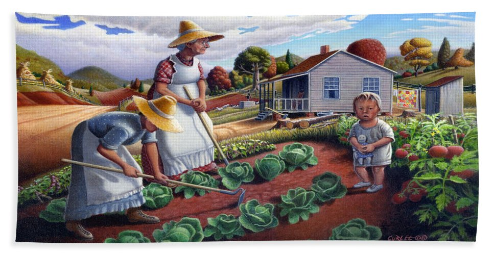 Farm Family Beach Sheet featuring the painting Family Vegetable Garden Farm Landscape - Gardening - Childhood Memories - Flashback - Homestead by Walt Curlee