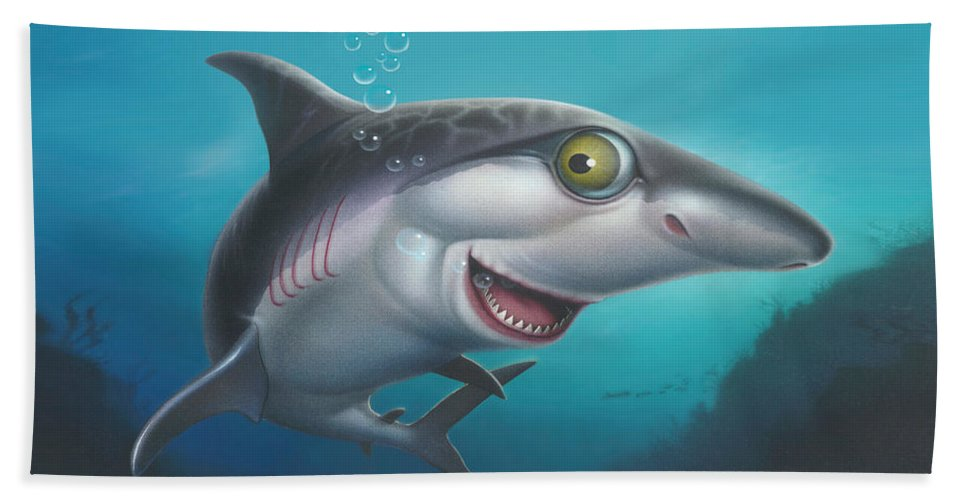 Shark Beach Towel featuring the painting friendly Shark Cartoony cartoon under sea ocean underwater scene art print blue grey by Walt Curlee