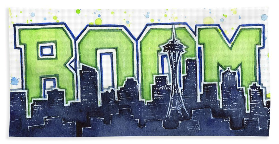 Seattle Beach Towel featuring the painting Seattle 12th Man Legion Of Boom Painting by Olga Shvartsur