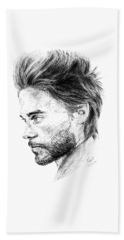 Jared Leto Portrait Pencil Paper Drawing Actor Singer Beach Towel featuring the drawing Jared Leto by Nadi Sabirova