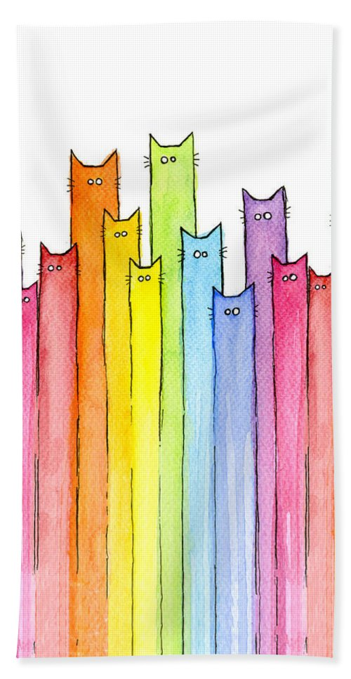 Cats Beach Towel featuring the painting Cat Rainbow Watercolor Pattern by Olga Shvartsur
